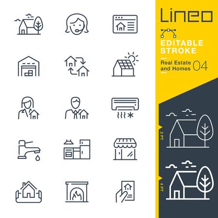 Lineo Editable Stroke - 부동산 및 주택 라인 아이콘.