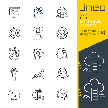 Lineo Editable Stroke Strategy and Management outline icons 版權商用圖片 - 97873660