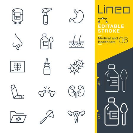 Lineo edytowalne obrysu - ikony linii medycznych i opieki zdrowotnej Ilustracje wektorowe