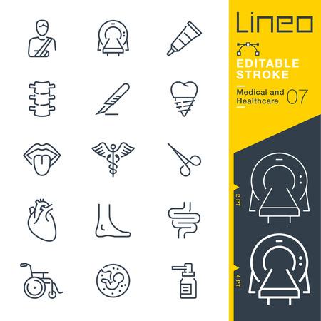 Linia edytowalne obrysu - ilustracja wektorowa linii ikon medycznych i opieki zdrowotnej.