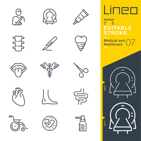 Line Editable Stroke - Medical and Healthcare Line Icons Vector illustration.