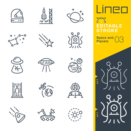 Lineo Editable Stroke - Space and Planets line icons