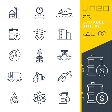 Lineo Editable Stroke - Icone delle linee di petrolio e petrolio