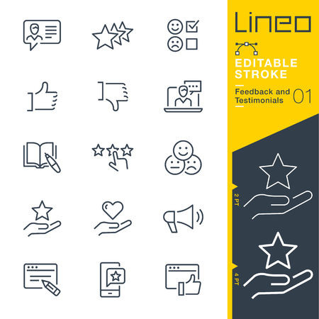 Lineo Editable Stroke - Feedback and Testimonials line icons 向量圖像