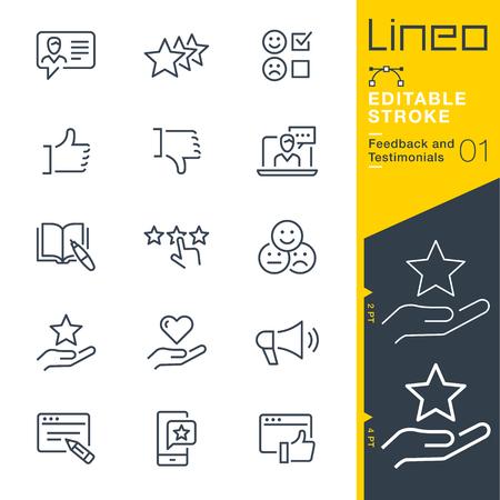 Lineo Editable Stroke - Iconos de línea de comentarios y testimonios
