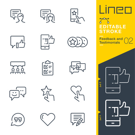 Lineo Editable Stroke - Feedback and Testimonials line icons 일러스트
