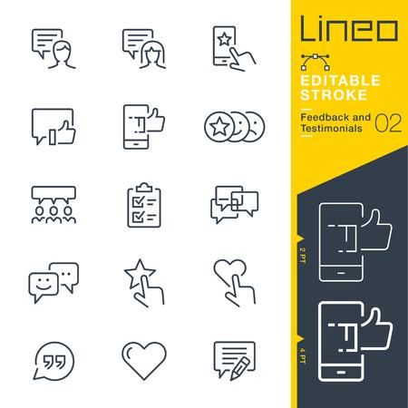 Lineo Editable Stroke - Lijnpictogrammen voor feedback en getuigenissen Vector Illustratie