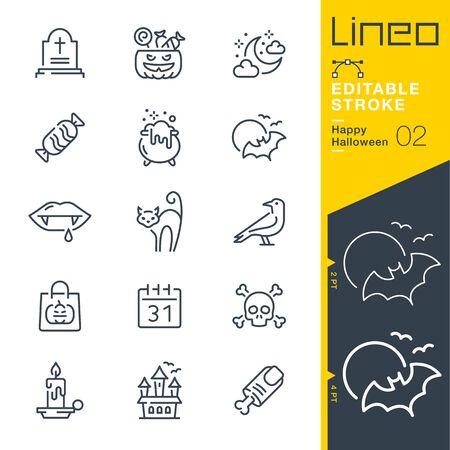 Lineo Editable Stroke - Icônes de ligne Happy Halloween