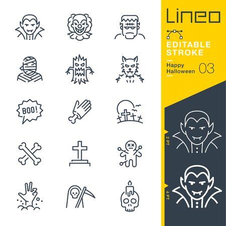 Lineo Editable Stroke - Icônes de ligne Happy Halloween Vecteurs