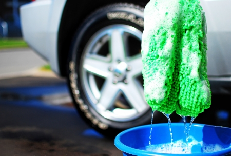 image of a car being washed photo