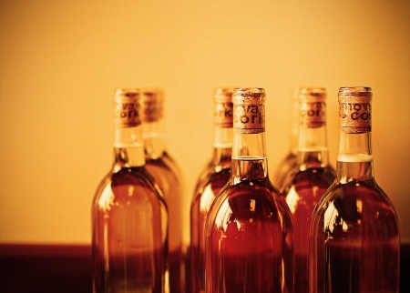 An image of several bottles of wine Stock Photo