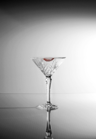 night out: Image of martini glass with lipstick