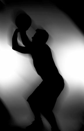 follow through: Silhouette of a man shooting a basketball  Stock Photo