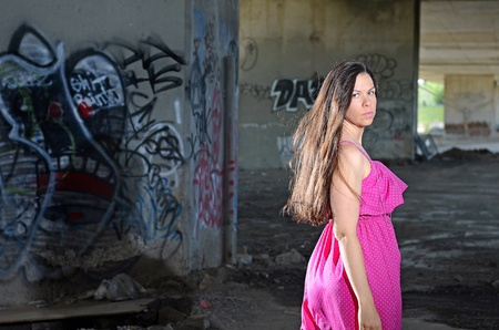 Image of a female posing near graffiti covered walls Stock Photo - 14120605