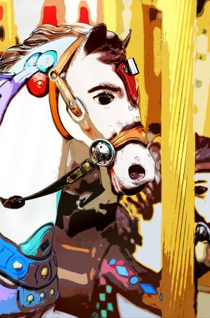 Image of a cartoon style carousel horse photo