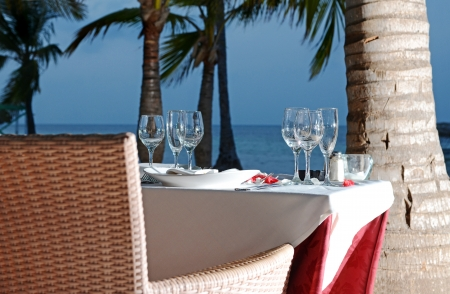 all weather: Beach Dinner for Two Stock Photo