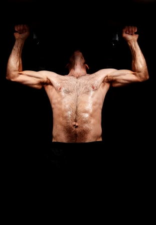 nude abs: Strong Chin Up