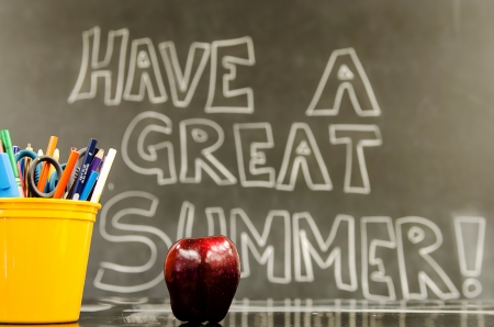 Classroom with  Have a Great Summer  written on the board photo