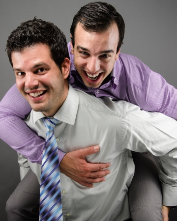 good attitude: Two Coworkers Stock Photo