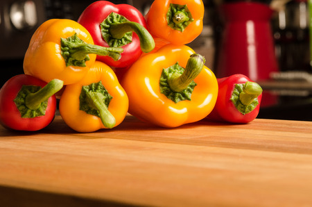genetically modified organisms: Peppers in the kitchen Stock Photo