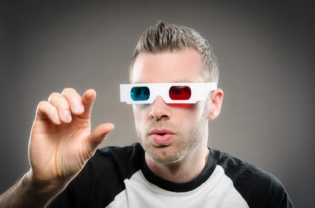 buff: Man wearing 3d glasses