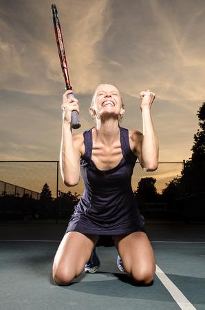 Female tennis player Celebration photo