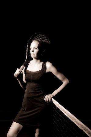 Black and white tennis portrait photo
