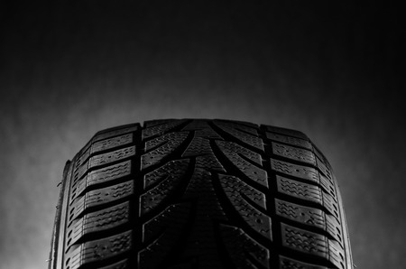 winter tires: Black Ruber Tread Stock Photo