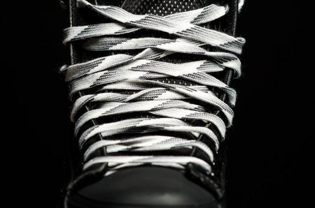men s boot: Skate laces Stock Photo