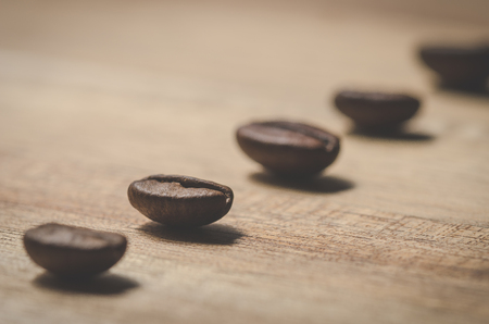 Line of coffee beans Stock Photo