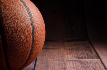gym floor: Basketball on gym floor