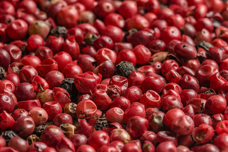 Many red and black peppercorns Stock Photo