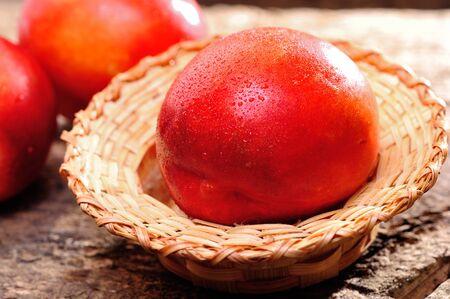 tasteful: Fresh peaches on the table, delicious, juicy, tasteful