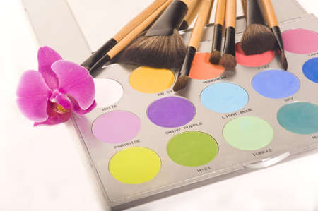 Professional makeup palette and brushes photo