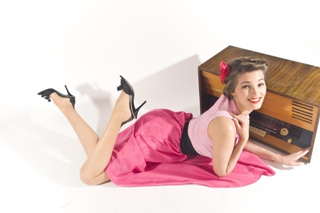 Pin-up girl listen retro radio