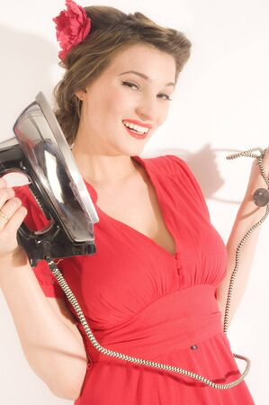 Pin-up ironing woman photo