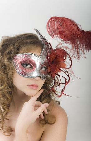 Portrait women with carnival mask  photo
