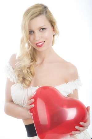 Pin-up women with heart photo