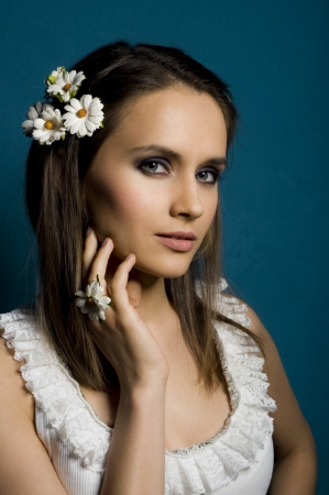 Beauty women with flowers in hair  photo