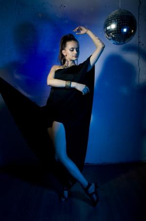 windblown: Girl dance on disco
