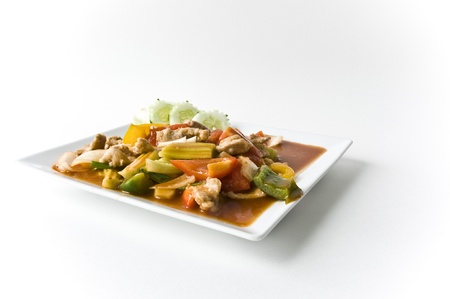 Asian pork in sour sweet sauce photo
