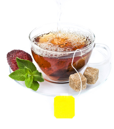 teabag: Cup of tea with teabag Stock Photo