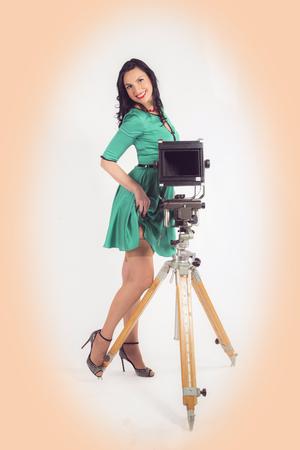 composing: Pinup photographer girl