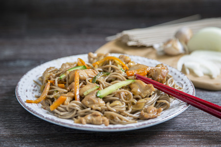 asian soba noodle and chiken teriyaki