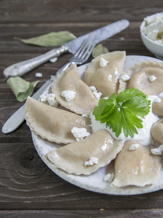 Russian dumplings with cottage cheese Stock Photo