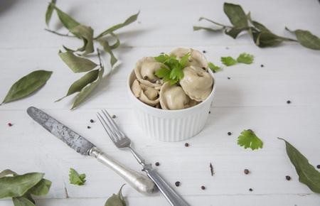 Russian dumplings with meat Stok Fotoğraf