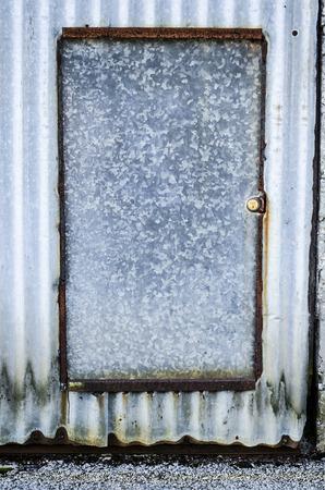 corrugated steel: rustic aluminium door