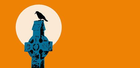 inevitability: raven on celtic cross tombstone