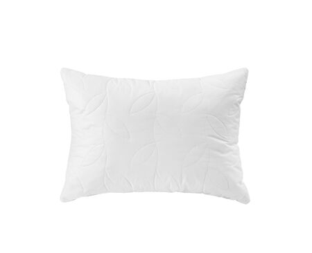 White soft pillow with the leaves pattern isolated. White cushion top view.
