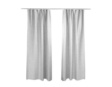 Rideaux gris blancs isolés sur fond blanc Banque d'images